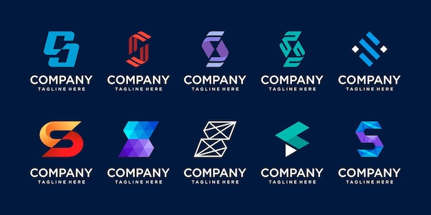 Lettre initiale s ss logo icon set