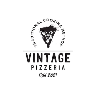 Lettre initiale v vintage pizza slices pizzeria logo design