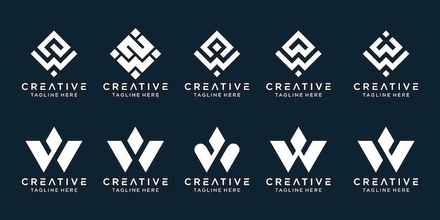 Lettre initiale w logo icon set design pour les entreprises de la technologie numérique du sport automobile