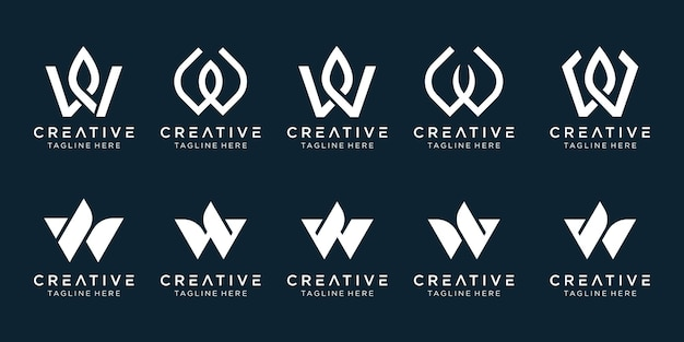 Lettre initiale w logo et icônes définies pour les entreprises de luxe nature élégante simple