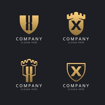 Lettre initiale x et bouclier avec style doré