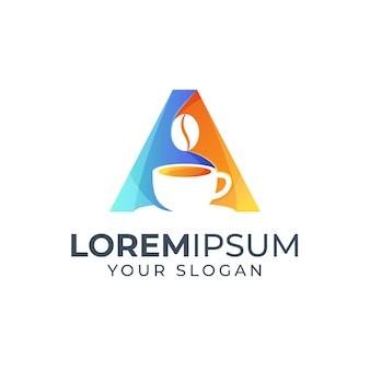 Lettre a et inspiration de conception de logo café