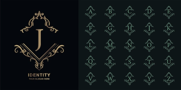 Lettre j ou alphabet initial de collection avec modèle de logo doré cadre floral ornement de luxe.