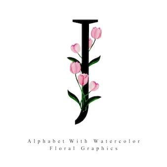 Lettre j aquarelle fond floral