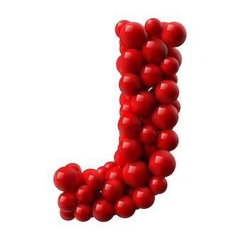 Lettre j avec des boules brillantes de couleur rouge. illustration réaliste.