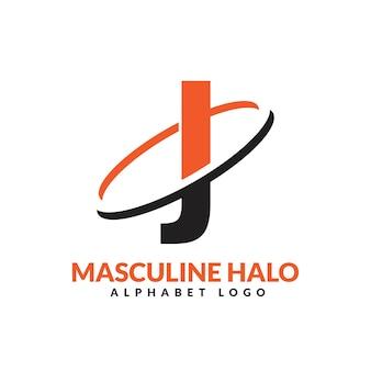 Lettre j orange et noir anneau géométrique masculin logo vector illustration icône
