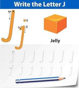 Lettre j traçant des feuilles d'alphabet