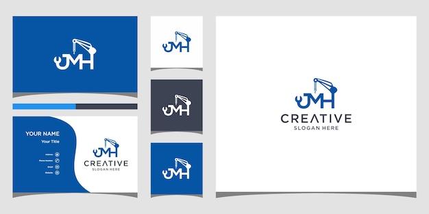 Lettre jmh pour la conception de logo de construction avec modèle de carte de visite
