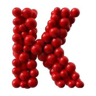 Lettre k avec des boules brillantes de couleur rouge. illustration réaliste.