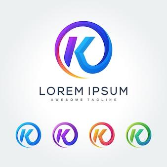 Lettre k coloré icône de design art abstrait moderne ondulé