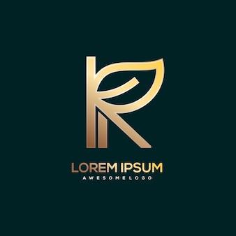 Lettre k avec logo feuille couleur or de luxe