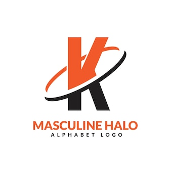 Lettre k orange et noir anneau géométrique masculin logo vector illustration icône