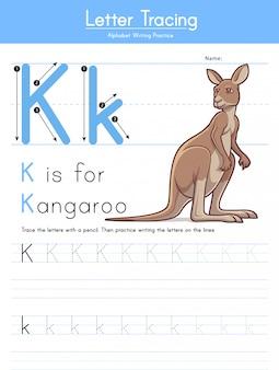 Lettre k traçant l'alphabet animal k pour le kangourou