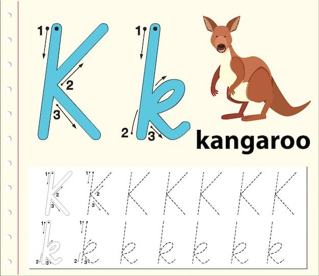Lettre k traçant des feuilles d'alphabet