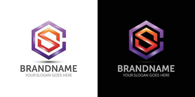 Lettre c lettre s modèle de logo coloré idée de marque