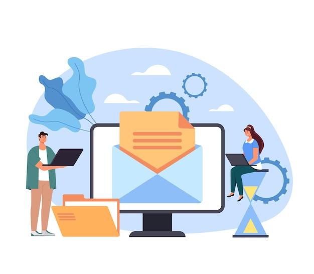 Lettre en ligne numérique du contenu multimédia du site web du réseau de service de messagerie.