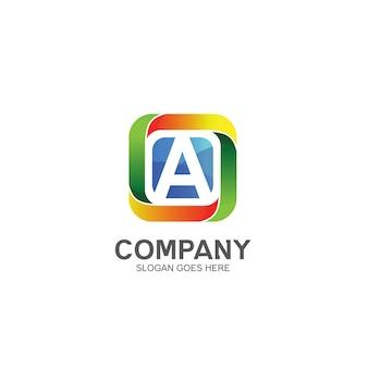 Lettre a et logo carré coloré