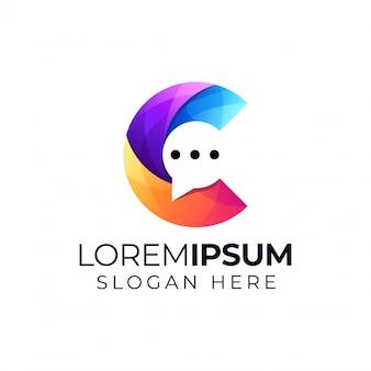 Lettre C Avec Logo Chat Vecteur Premium