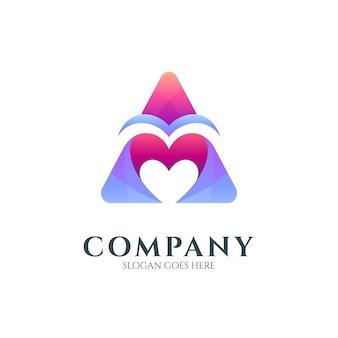 Lettre a et logo coeur ou amour