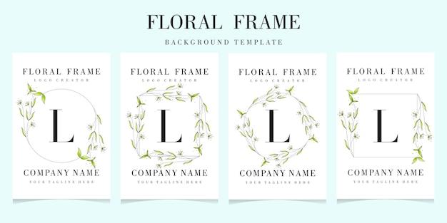 Lettre l logo avec collection de cadres floraux