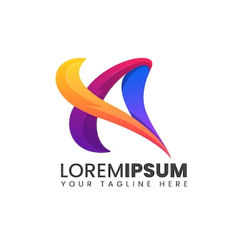 Lettre d'un logo coloré abstrait de forme 3d moderne