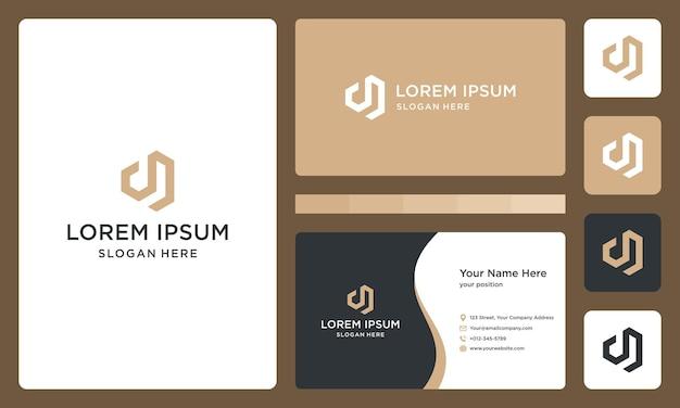 Lettre d et logo de construction de maison. conception de carte de visite.