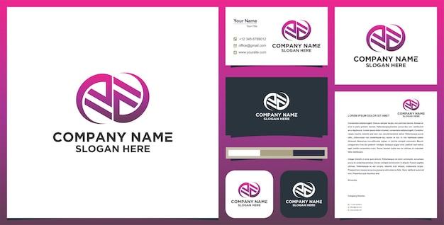 Lettre de logo ea avec carte de visite