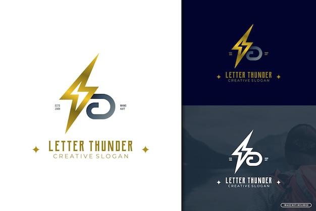 Lettre de logo élégant b avec thunder