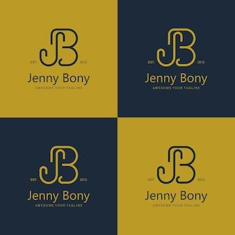 Lettre de logo élégante jb belle marque