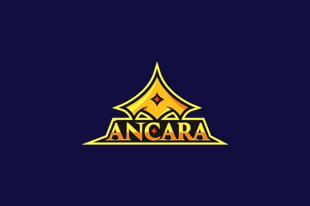 Lettre a logo esports en forme de couronne abstraite