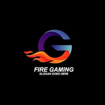 Lettre avec logo de feu isolé sur fond noir