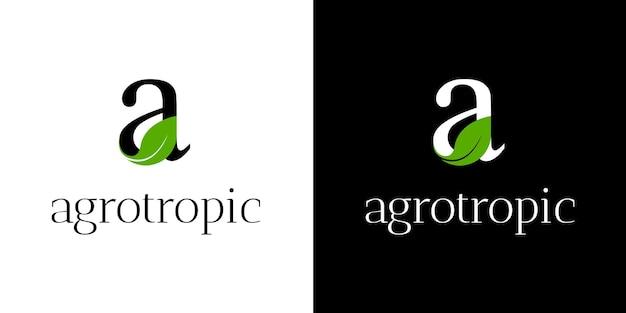 Lettre un logo avec feuille verte