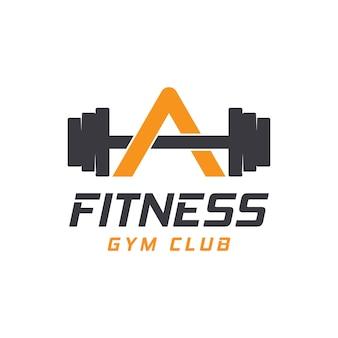 Lettre a logo avec haltères. logo de salle de remise en forme. création de logo vectoriel de remise en forme pour la salle de sport et la remise en forme.