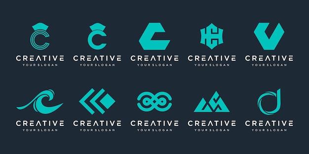 Lettre c logo icon set designs pour entreprise de sport automobile élégant simple