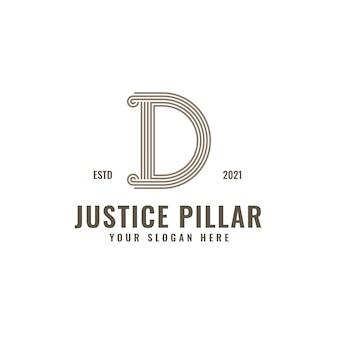 D lettre logo justice et cabinet d'avocats pilier audacieux dessin au trait professionnel