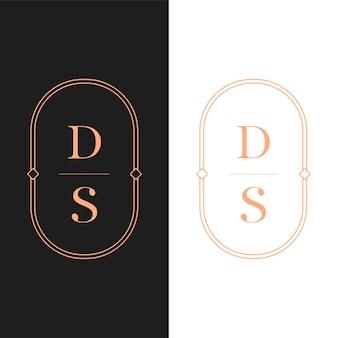 Lettre logo luxe. création de logotype de style art déco pour l'image de marque d'une entreprise de luxe. conception d'identité haut de gamme. lettre ds