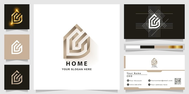 Lettre c ou logo monogramme à la maison avec conception de carte de visite
