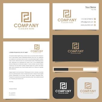 Lettre de logo vectoriel monogramme collection et carte de visite
