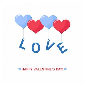 Lettre love avec des ballons coeur