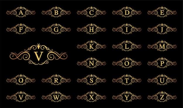 Lettre de luxe doré a à z sur fond noir
