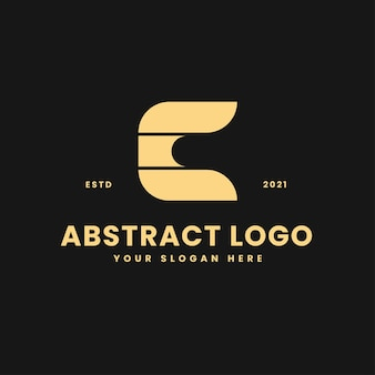 Lettre c luxueux bloc géométrique d'or concept logo vector icon illustration