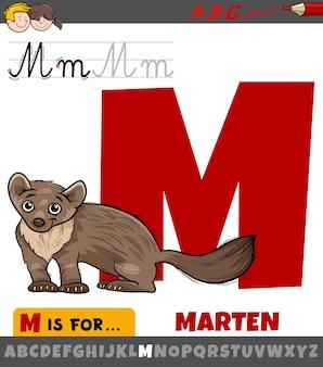 Lettre m de l'alphabet avec animal martre de dessin animé