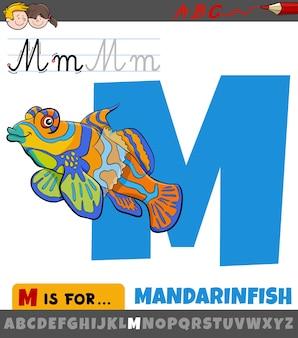 Lettre m de l'alphabet avec un animal de poisson mandarin de dessin animé