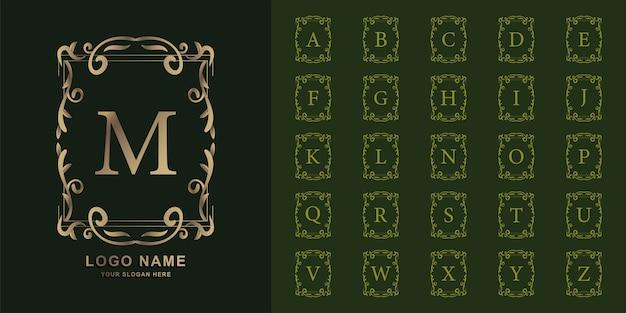 Lettre m ou alphabet initial de collection avec modèle de logo doré cadre floral ornement de luxe.