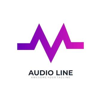 Lettre m audio dégradé de couleur moderne