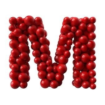 Lettre m avec des boules brillantes de couleur rouge. illustration réaliste.