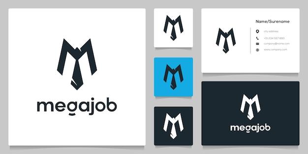 Lettre m costume cravate homme d'affaires création de logo d'entreprise
