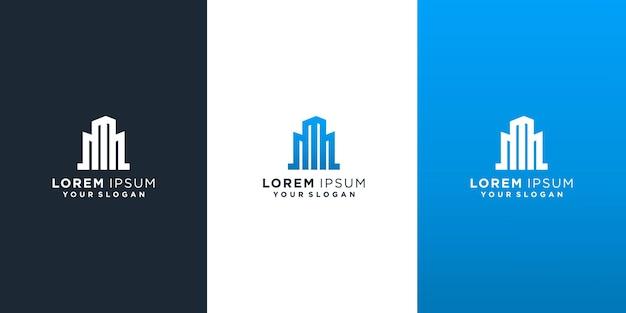 Lettre m avec création de logo de bâtiment