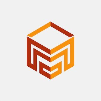 Lettre m cube logo. m icône abstrait.