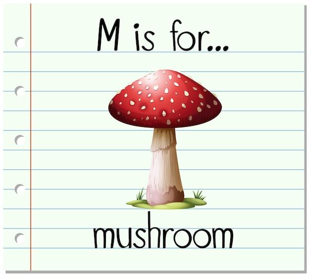 La lettre m de flashcard est pour le champignon